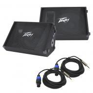 "(2) Peavey PV 15M Pro Audio DJ Passive 15"" Stage Monitor 1000W Speaker with 1/4"" to Spe..."