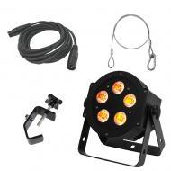 American DJ Lighting 5P Hex Slim Par RGBAW & UV Wash Light with Clamp DMX & Safety Cable