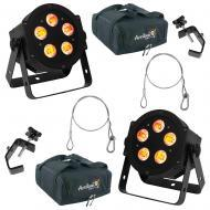 (2) American DJ Lighting 5P Hex Slim Par RGBAW & UV Wash Light with Travel Bag, Clamps & ...
