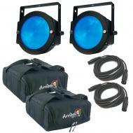 (2) American DJ Lighting Dotz Par Slim Profile RGB Wash or Pixel Map Light with Travel Bag & ...