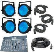 (4) American DJ Lighting Dotz Par Slim Profile RGB Wash or Pixel Map Light with Obey 3 & DMX ...