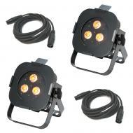American DJ (2) Ultra Hex Par3 3x10W LED Par Wash Fixtures w/ (2) DMX Cables