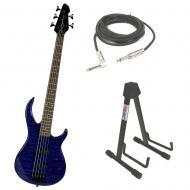 Peavey Millennium 5 String TransBlue Bass Guitar w/ Instrument Stand & Cable