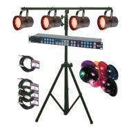 American DJ P36 LED SYS Par 36 RGB LED Lighting Package with 4-Pack Mauve Lens