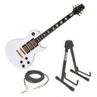 Peavey SC 3 White Electric Guitar w/ Adustable A Frame Stand & Instrument Cable
