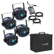 American DJ LED TRISPOT SYSTEM 4-Pack RGB Pinspot w/ ATP16 Padded Stackable Case