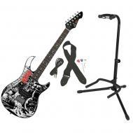 Peavey The Walking Dead Black & White Splash Rockmaster Electric Guitar w/ Stand