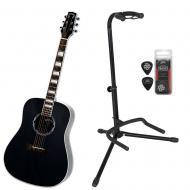 Peavey Jack Daniels JD-AG1 Black Acoustic Guitar w/ Stand & 12 Heavy PXD Picks