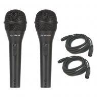 Peavey (2) PVi 2 Dynamic Cardioid Microphone Package w/ (2) 15ft Mic XLR Cables