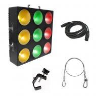 Chauvet Core 3x3 Pixel-Mapping LED Wash Fixture w/ Clamp, DMX Cable & Harness