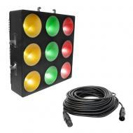 Chauvet Core 3x3 Pixel-Mapping RGB LED Wash Light Fixture w/ 50 foot DMX Cable