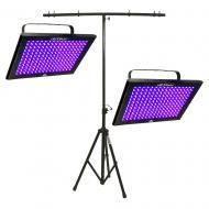 Chauvet (2) TFX-UVLED LED UV Blacklight Panel Fixture Package with T-Bar Stand