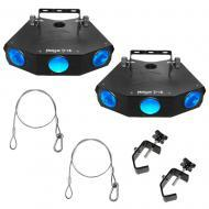 Chauvet (2) MEGA TRIX LED Floor Effect Fixture Package with (2) Clamp & Cable