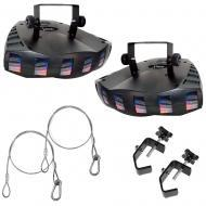 Chauvet 09-Derby Xx2 Floor Effects Lighting Fixture Package w/ (2) Cable & Clamp