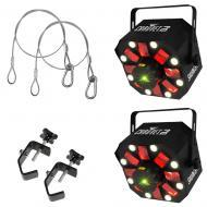 Chauvet (2) Swarm 5 FX LED Rotating Derby Fixture Package w/ Truss Clamp & Cable