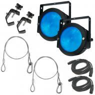 American DJ (2) Dotz Par LED Color-Mixing Lights w/ Clamps, Harness & DMX Cables