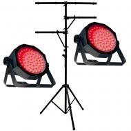 American DJ (2) Mega Go Flood Par HO Battery Powered Fixture w/ TBar Light Stand