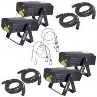 American DJ (4) Micro Star Red/Green Laser Lights w/ 4 Harnesses & 4 DMX Cables