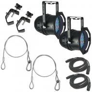 American DJ (2) 64B LED Pro Black Par Fixtures w/ Clamps, Harnesses & DMX Cables