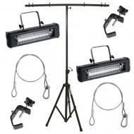 American DJ (2) Mega Flash DMX Programmable Strobe Fixtures w/ Stands & Clamps