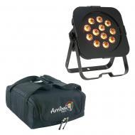 American DJ Flat Par QA12X RGBW LED Light Fixture Package w/ AC100 Padded Bag