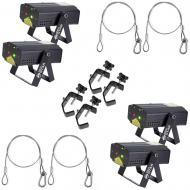 American DJ (4) Micro Star Red/Green Laser Beam Fixtures w/ Harnesses & Clamps