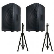 American DJ (2) CPX 10A 2-Way Active Speaker Package w/ Adjustable Tripod Stands