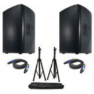 American DJ (2) CPX 12A 2-Way Active Speakers w/ Tripod Stands & Speakon Cables