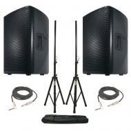 American DJ (2) CPX 12A 2-Way Active Speakers w/ Universal Stands & 15' Cables