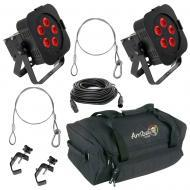 American DJ (2) WiFLY Par QA5 LED Wash Lights w/ AC135 Bag, DMX Cable & Harness