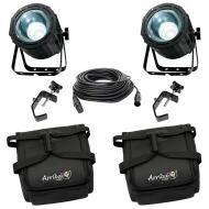 American DJ 2 Lightning COB Cannon LED Strobe/Wash w/ Bags, DMX Cables & Clamps