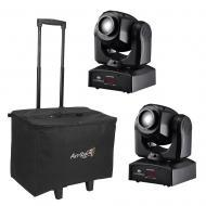 American DJ (2) Inno Pocket Spot Mini LED Moving Head Light w/ ACR19 Rolling Bag
