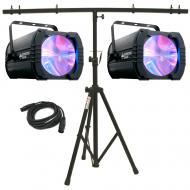 American DJ (2) Monster Beam LED Moonflower Fixtures w/ T-Bar Stand & DMX Cable