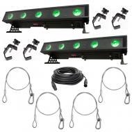 American DJ (2) WiFLY Bar QA5 LED Wash Fixtures w/ DMX Cable, Clamps & Harnesses