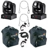 American DJ (2) Inno Pocket Spot Mini LED Moving Head Fixture w/ Bag & DMX Cable