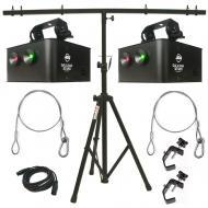 American DJ (2) Galaxian 3D MKII Portable Laser Fixture w/ Stand & DMX Cable