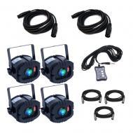 American DJ LED TRISPOT SYSTEM RGB Pinspot Lighting Package w/ (2) 15' DMX Cable