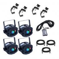 American DJ LED TRISPOT SYSTEM RGB Pinspot Lighting Package with (4) C-Clamps