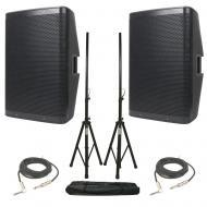 American DJ (2) CPX 15A 2-Way Active Speakers w/ Universal Stands & 15' Cables
