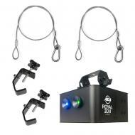 American DJ ROYAL 3D II Laser Effect Light Fixture w/ (2) C Clamp & Safety Cable