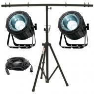 American DJ (2) Lightning COB Cannon LED Fixtures w/ Tripod Stand & DMX Cable