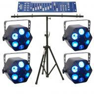 American DJ (4) Quad Phase HP LED Moonflowers w/ Obey10 Controller & T-Bar Stand