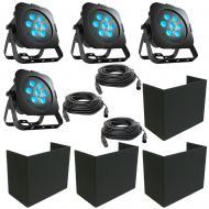 American DJ (4) Ultra Go Par7X RGB LED Fixture Package w/ Uplight Cover & Cables