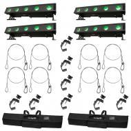 American DJ (4) WiFLY Bar QA5 LED Wash Fixtures w/ Bags, Clamps & Safety Cables