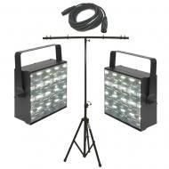 American DJ (2) Freq Matrix LED Strobe/Chase Lights w/ Tripod Stand & DMX Cable