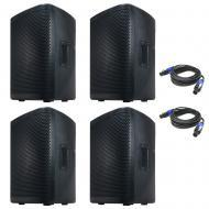 American DJ (4) CPX 10A 2-Way Active Speaker Package w/ (2) 15-ft Speakon Cables