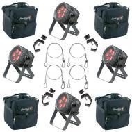 American DJ 4 WiFLY QA5 IP RGBA LED Wash Lights w/ Bags, Clamps & Safety Cables