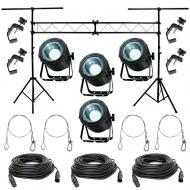 American DJ (4) Lightning COB Cannon LED Lights w/ Stand, DMX Cables & Clamps
