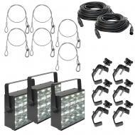American DJ (3) Freq Matrix LED Strobe/Chase Lights w/ 50ft DMX Cables & Clamps