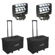 American DJ (2) CRAZY 8 8x10w White LED Moving Head Fixture with 2 Rolling Case